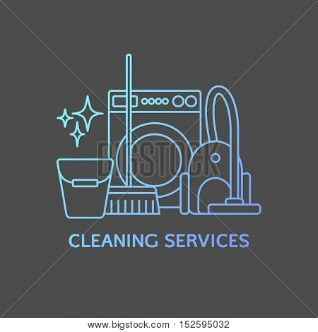 Vector trendy cleaning services logo template, elements.
