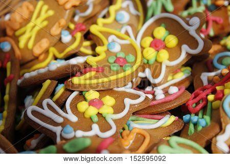 Colourfull gingerbread rabbits and moon close up