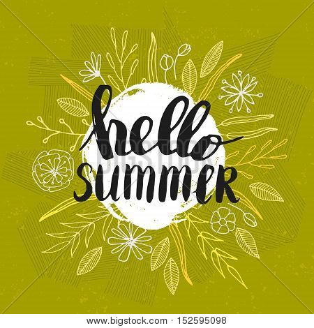 Vector hand written quote Hello summer. T-shirt, poster and card design. Trendy lettering.