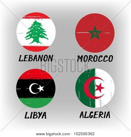 Set Of 4 Flags - Round Icons - Lebanon Morocco Libya Algeria