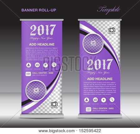 Purple roll up banner template, banner design, stand template, display template, pull up, happy new year 2017