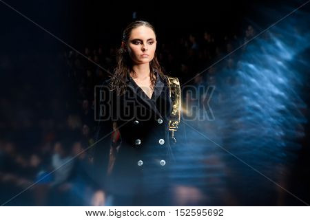 MOSCOW RUSSIA - OCTOBER 17 2016: Model walk runway for BELLA POTEMKINA catwalk at Spring-summer 2017 Mercedes-Benz Fashion Week Russia.