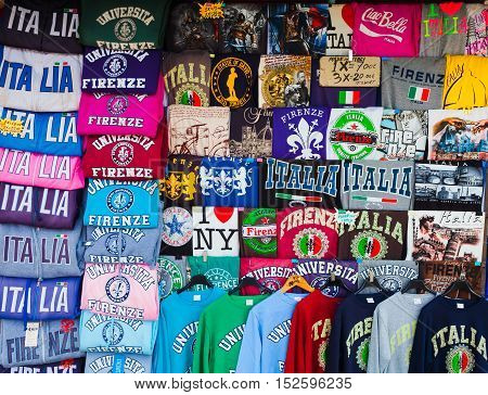 Florence ITALY- September 11 2016:Florence Italy - June 28 2014: A lot of T-shirts with titles