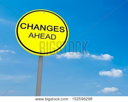Round Yellow Road Sign Changes Ahead Against A Cloudy Sky 3d illustration