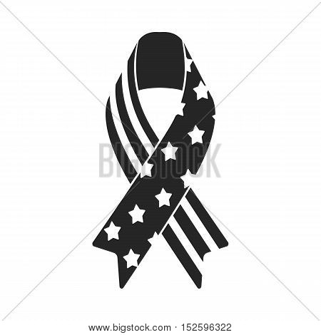 Patriotic ribbon icon in black style isolated on white background. Patriot day symbol vector illustration.
