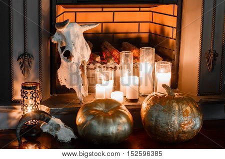 Halloween composition on fireplace closeup. skull of a cow