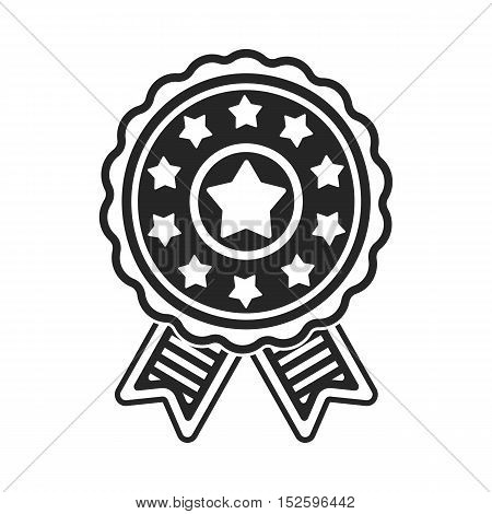 Vote emblem icon in black style isolated on white background. Patriot day symbol vector illustration.