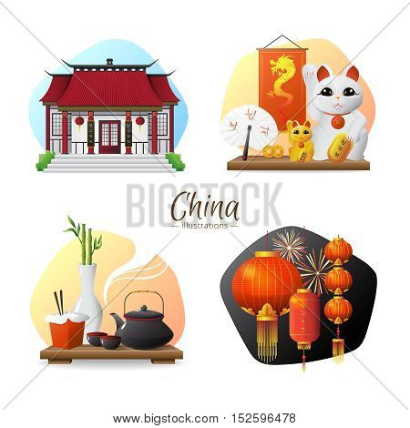 Chinese culture traditions and symbols 4 stylish compositions set  with tea ceremony and red lanterns isolated vector illusttration