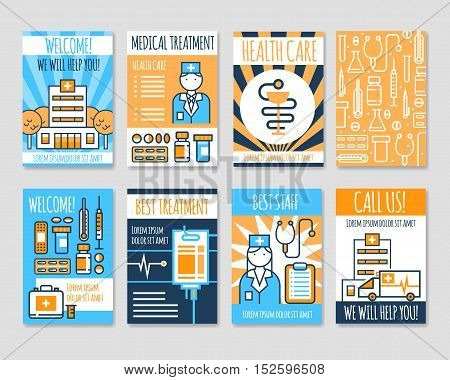 Set of isolated medical line banners in card form with information about new medication and best treatment advertising flat vector illustration