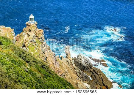 The new lighthouse of Cape Point in Cape of Good Hope Nature Reserve in Cape Peninsula, Western Cape, South Africa.