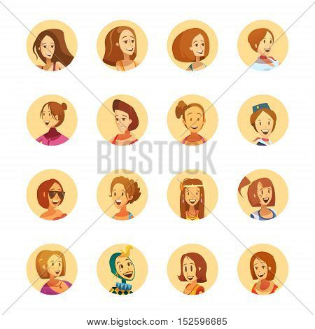 Young smiling woman playful cartoon style round avatar icons collection with different girlish hairstyle isolated vector illustrations
