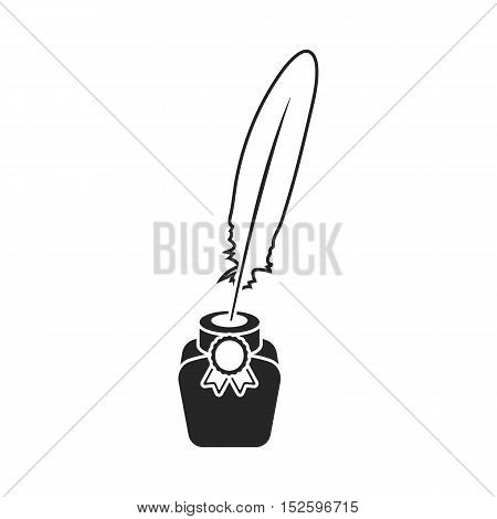 Quill in inkwell icon in black style isolated on white background. Patriot day symbol stock vector illustration.