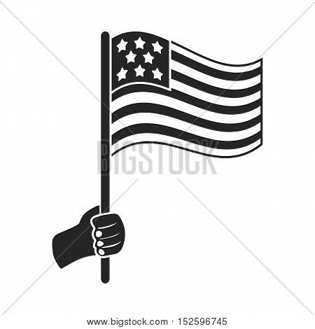 American flag icon in black style isolated on white background. Patriot day symbol vector illustration.