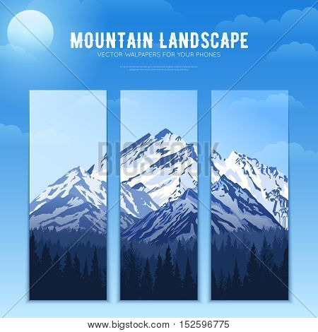 Design concept of mountains landscape poster divided to vertical banners for smartphone wallpapers vector illustration