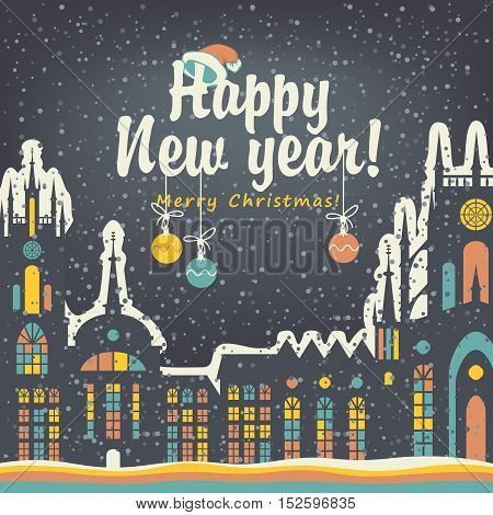 Christmas card with winter old city in snowy night