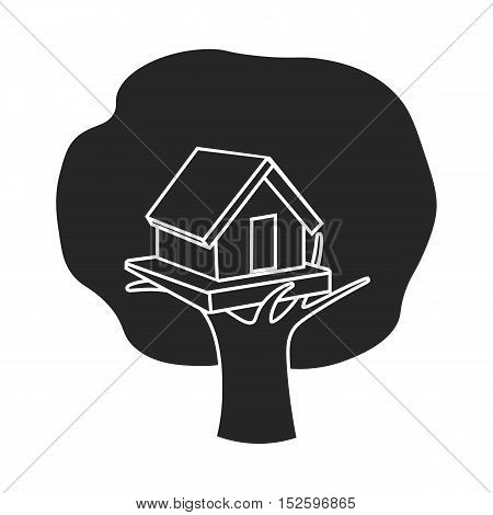 Tree house icon in black style isolated on white background. Play garden symbol vector illustration.