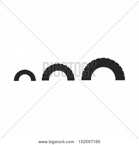 Tire on playgarden icon in black style isolated on white background. Play garden symbol vector illustration.