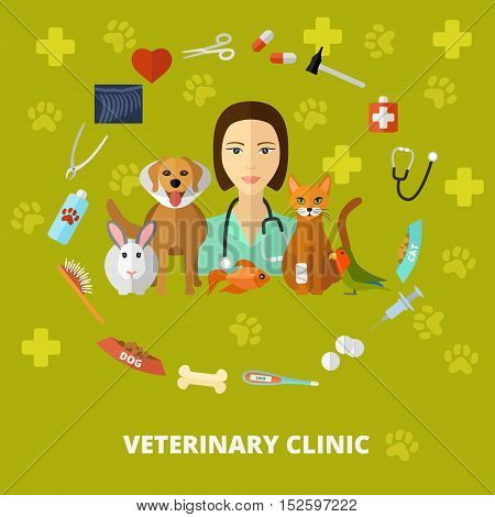 Vector veterinary icons set, concept and poster. Cat dog fish parrot doctors pets medical tools.