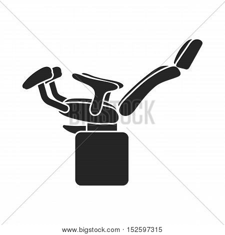 Gynecologic chair icon in black style isolated on white background. Pregnancy symbol vector illustration.