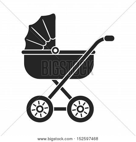 Baby transport icon in black style isolated on white background. Pregnancy symbol vector illustration.