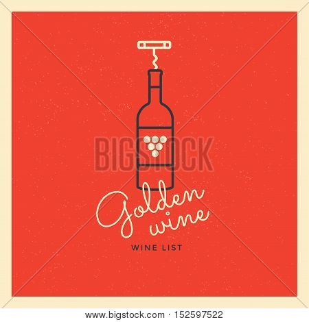 The logo with a bottle of wine and a corkscrew on a red background. Logo template for branding design. Business concept logo and identity symbol. Vector Illustration.