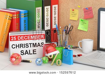 Christmas Sale concept 3D rendering on the table