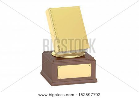 Golden Book Award 3D rendering isolated on white background