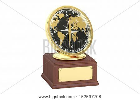 Golden Travelling Award 3D rendering isolated on white background