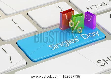 Singles' Day concept on the keyboard 3D rendering
