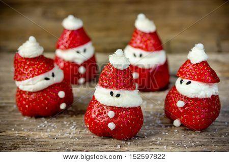 Christmas treats for kids - strawberry whipped cream funny santas