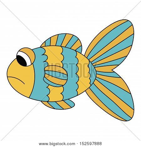 Sad cartoon blue and yellow fish with black outline isolated on white background. Vector illustration.