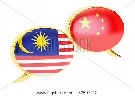 Speech bubbles Malaysian-Chinese translation concept. 3D rendering