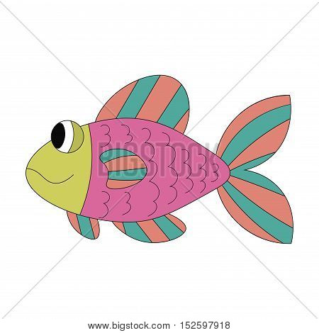Colorful cartoon cute pleased fish isolated on white background. Vector illustration.