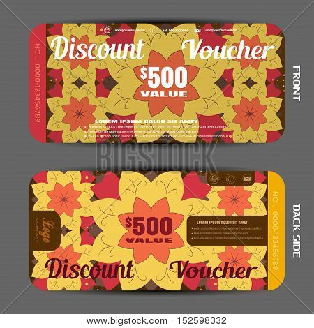 Vector blank of discount voucher on the autumn pattern background.