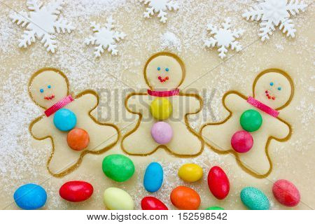 Gingerbread man preparation Christmas cookies top view