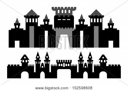 Vector black and gray silhouette castles without background