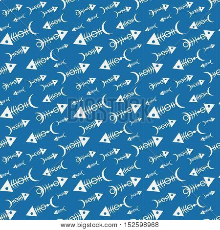 seamless pattern with skeletons of fish on a blue background. Skeletons with ornament