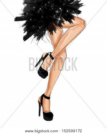 Watercolor hand drawn fashion Illustration of dancing legs