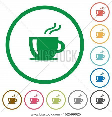 Cappuccino flat color icons in round outlines