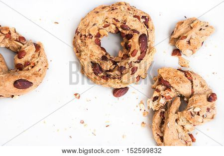 Taralli, Neapolitan snacks. Crispy rings with almond and pepper.