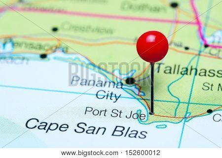 Port St Joe pinned on a map of Florida, USA