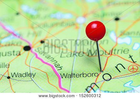 Walterboro pinned on a map of South Carolina, USA