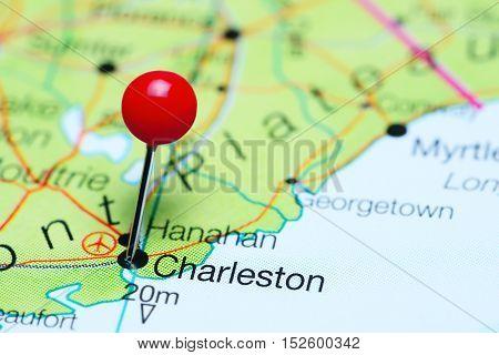 Charleston pinned on a map of South Carolina, USA