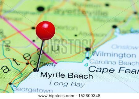 Myrtle Beach pinned on a map of South Carolina, USA