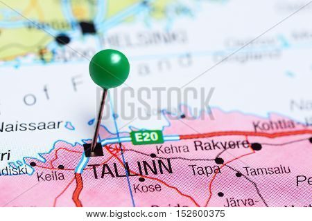 Tallinn pinned on a map of Estonia