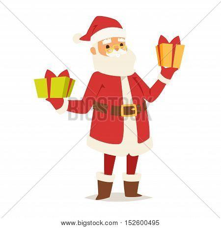 Christmas Santa Claus vector illustration. Vector red hat happy new year Santa Claus character. Merry Christmas cut funny man Santa Claus traditional december holiday present decoration.