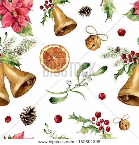Watercolor christmas seamless pattern. New year tree ornament with bell, holly, mistletoe, poinsettia, orange slice, pine cone and bow for design, print or background.