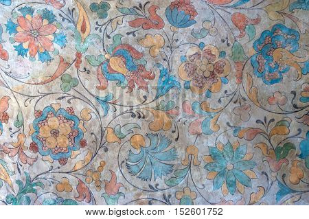 Interior detail wall painting of temple of the Intercession on the Moat known as St. Basil's Cathedral on Red Square in Moscow Russia