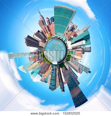 Small world - Circular image of the New York City skyline with several landmarks