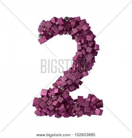 numbers from cubes, 2, two, 3d illustration